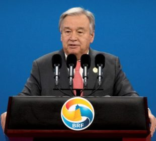 UN Secretary General Antonio Guterres speaks during the opening ceremony of the Belt and Road Forum at the China National Convention Center (CNCC) in Beijing, May 14, 2017. REUTERS/Mark Schiefelbein/Pool